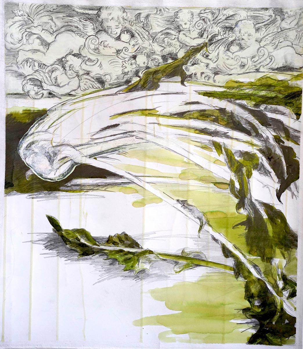 """Zeichnung, Mixed Media """"Löwenzahn am Freitag"""""""
